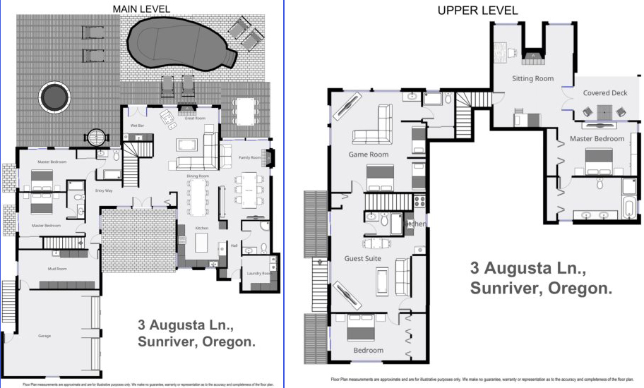 Floor Plan for Sunriver, OR      Augusta 3