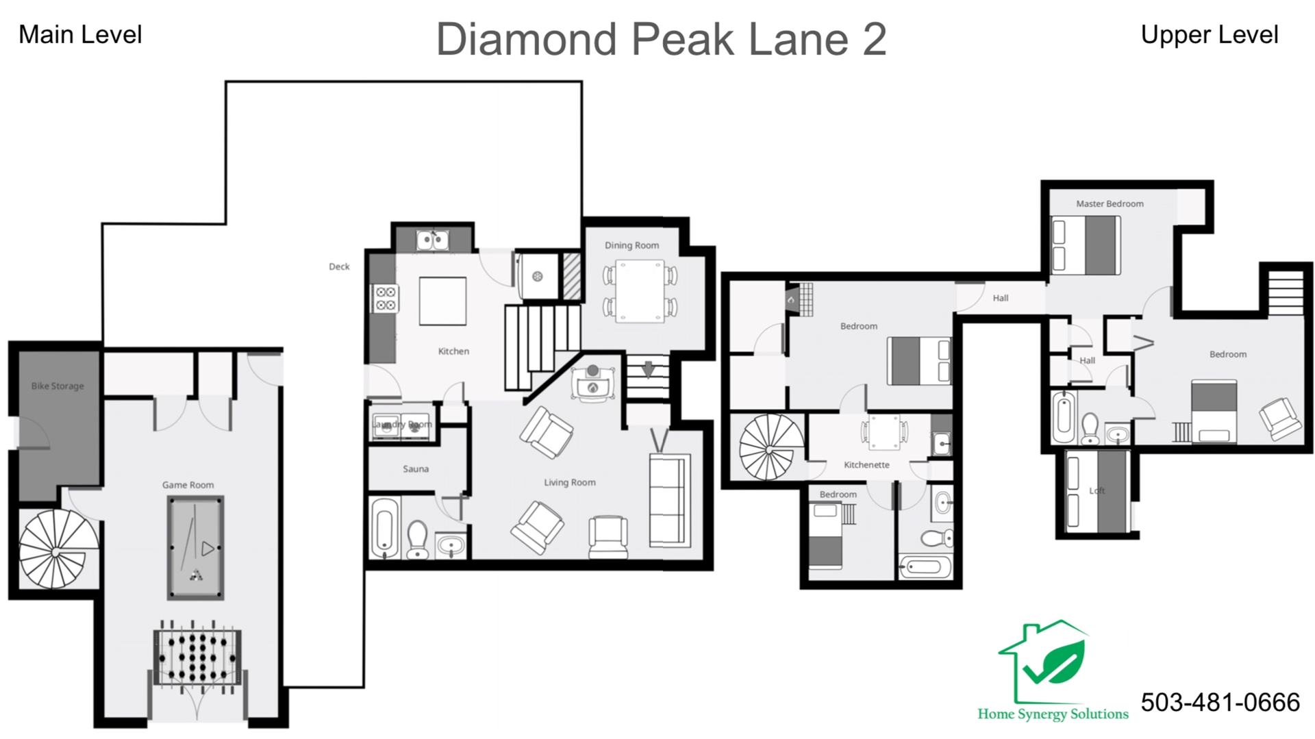 Floor Plan for Sunriver, OR | Diamond Peak 2